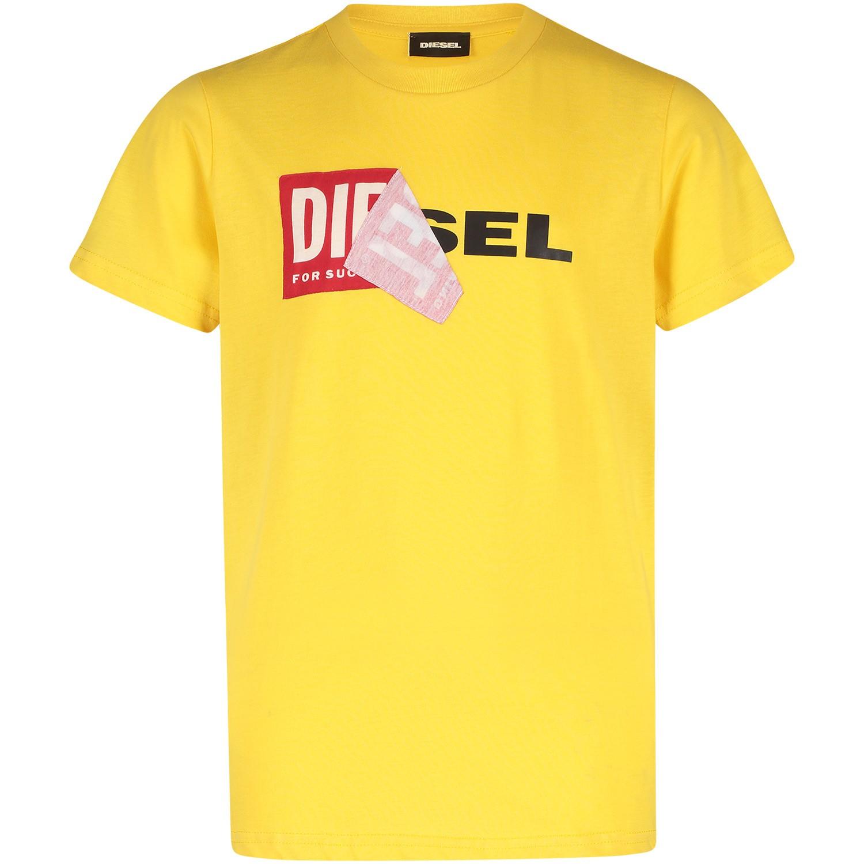 Afbeelding van Diesel 00J3ZN kinder t shirt geel