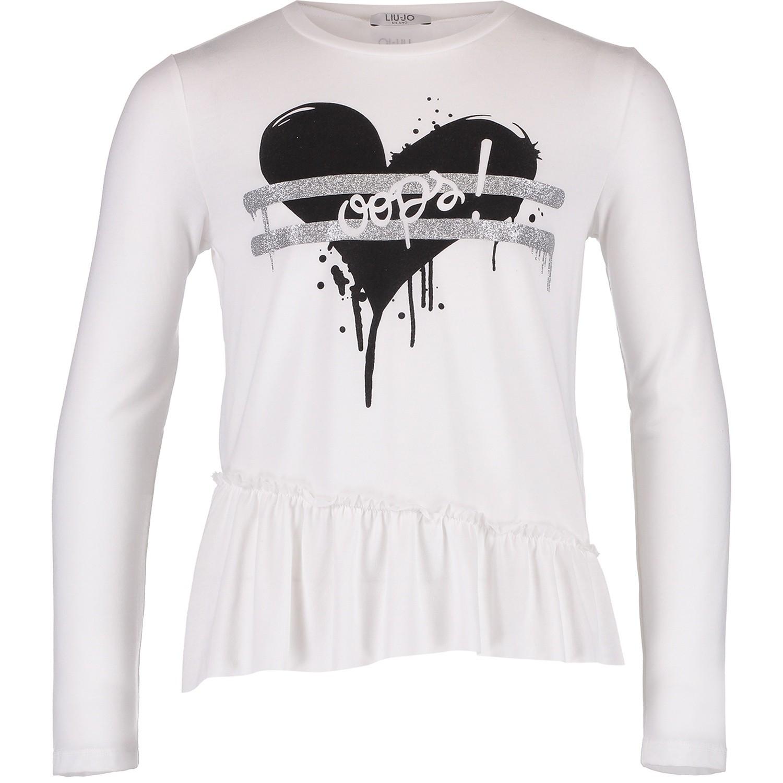 liu jo g68104 meisjes kinder t shirt off white bij coccinelle. Black Bedroom Furniture Sets. Home Design Ideas