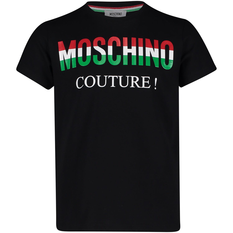 Afbeelding van Moschino HWM024 kinder t-shirt zwart