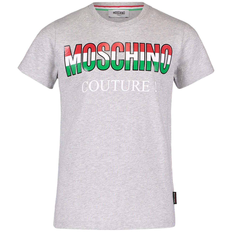 Picture of Moschino HWM024 kids t-shirt grey