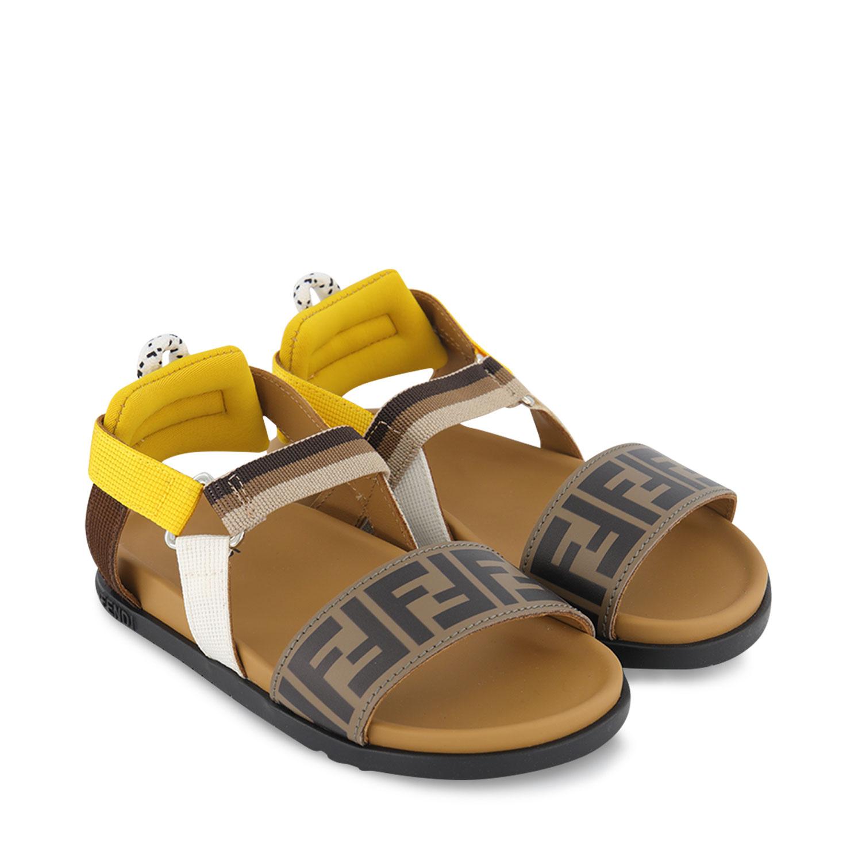 Afbeelding van Fendi JMR341 AEGK kindersandalen bruin/geel