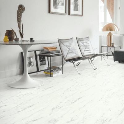Foto van Quick-Step Lyvin Ambient Rigid Click Plus Carrara Marmer Wit RAMCP40136