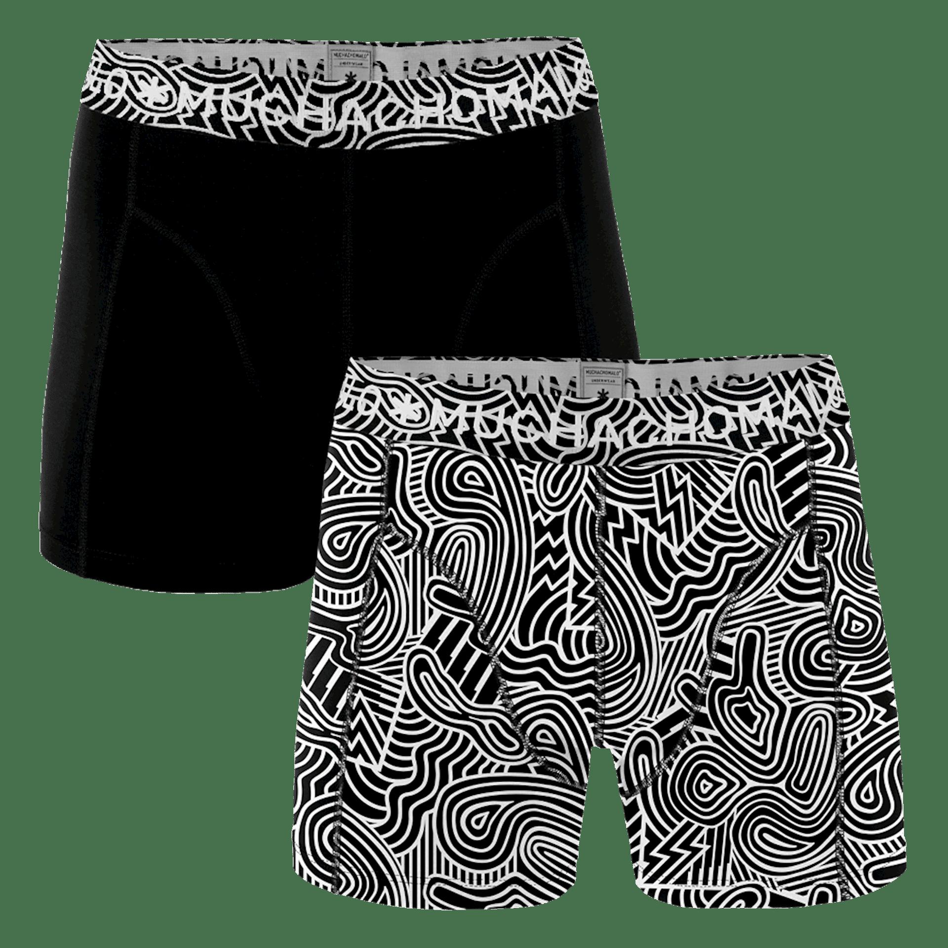 dfab6e44323 Muchachomalo 2-Pack heren boxershort BLACK&WHITE 1010SWURL01