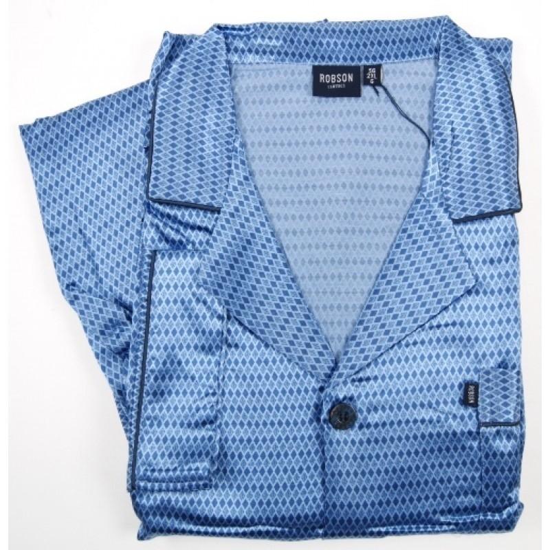 Satijnen Geweven Blauwe Doorknoop Heren Pyjama