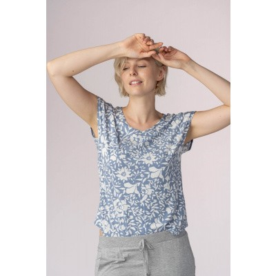 Foto van Mey Dames Shirt uit de serie Sleep & Easy CORNFLOWER 16019