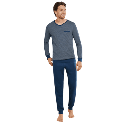 Foto van Schiesser Heren pyjama/loungewear set DARK BLUE 169694