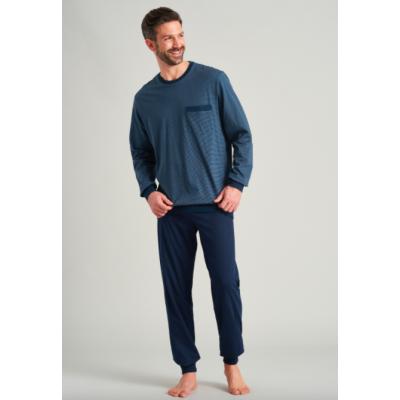 Foto van Schiesser Heren Pyjama lange broek en lange mouw 175645-816 Jeansblau