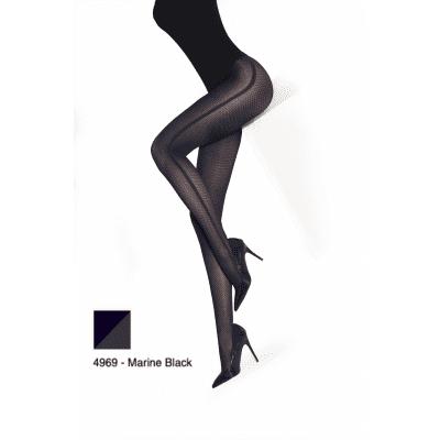 Foto van MarcMarcs Fashion Panty HONEYCOMB SIDELINE Zwart/Blauw 87370 4969