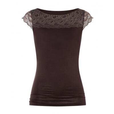 Foto van Mey Dames T-Shirt LINEA CHOCOLATE PLUME 46362-245