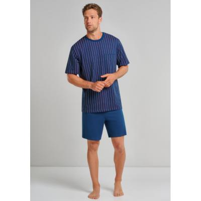 Foto van Schiesser Heren pyjama korte mouw, korte broek Blauw 173669 801