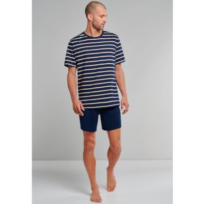 Foto van Schiesser Heren pyjama korte mouw, korte broek Blauw 173647 804