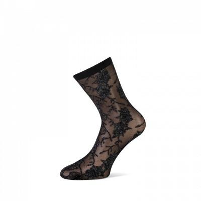 Foto van MarcMarcs Panty sock Zwart/Zilver met bloemenprint 87354