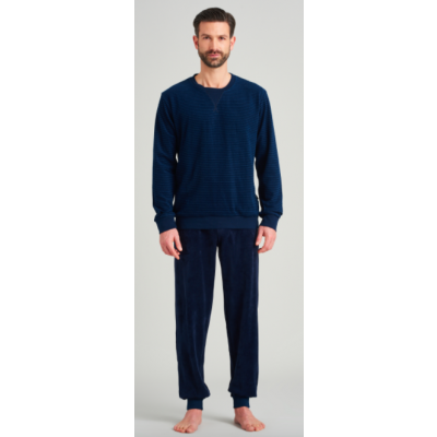 Foto van Schiesser lange badstof heren pyjama met boorden 175604-804 nightblue