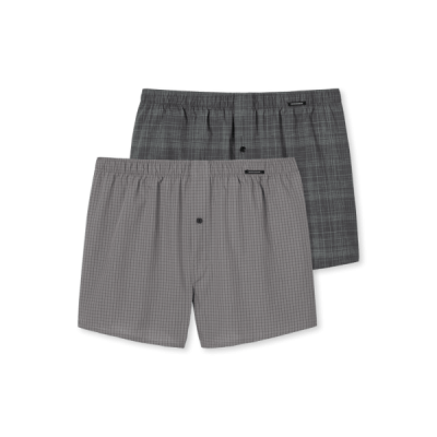 Foto van Schiesser Heren Geweven Boxershort 2-Pack GREY 158658