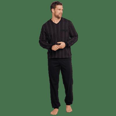 Foto van Schiesser Pyjama Lange broek / lange mouw zwart met streepjespatroon 168127 -006
