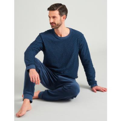 Foto van Schiesser lange badstof heren pyjama met boorden 175603-816 Jeansblauw