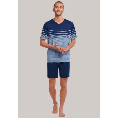 Foto van Schiesser Heren pyjama korte mouw, korte broek Blauw 173657 805