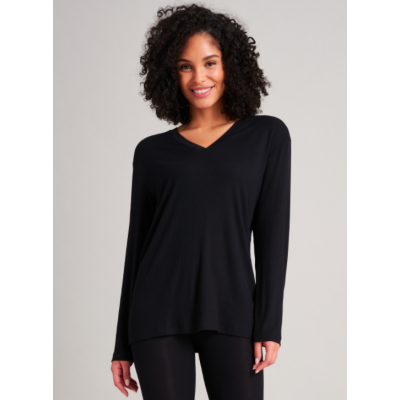 Foto van Schiesser Dames shirt Mix en Relax modal en V-hals 175511-000 Black