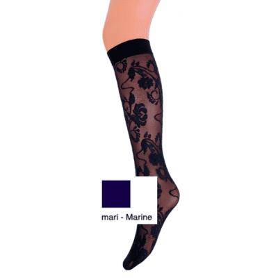 Foto van MarcMarcs panty kniekous flower lace MARINE 87380
