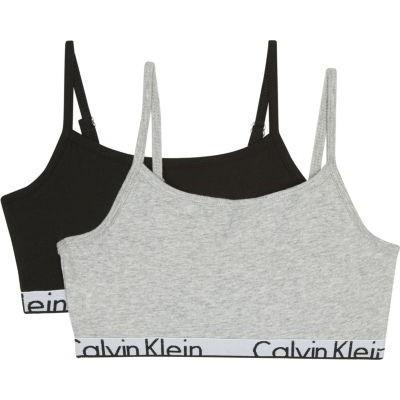 Foto van Calvin Klein Modern Cotton Girls 2-Pack Bralette GREY H/BLACK G80G800033