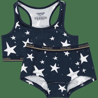 Foto van Vingino 2-Pack meisjes setje Boxer + topje SHINIE SET Donker Blauw HD19KGN73103