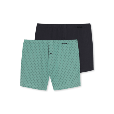 Foto van Schiesser Heren Geweven Boxer 2-Pack GREEN/BLACK 161662 700