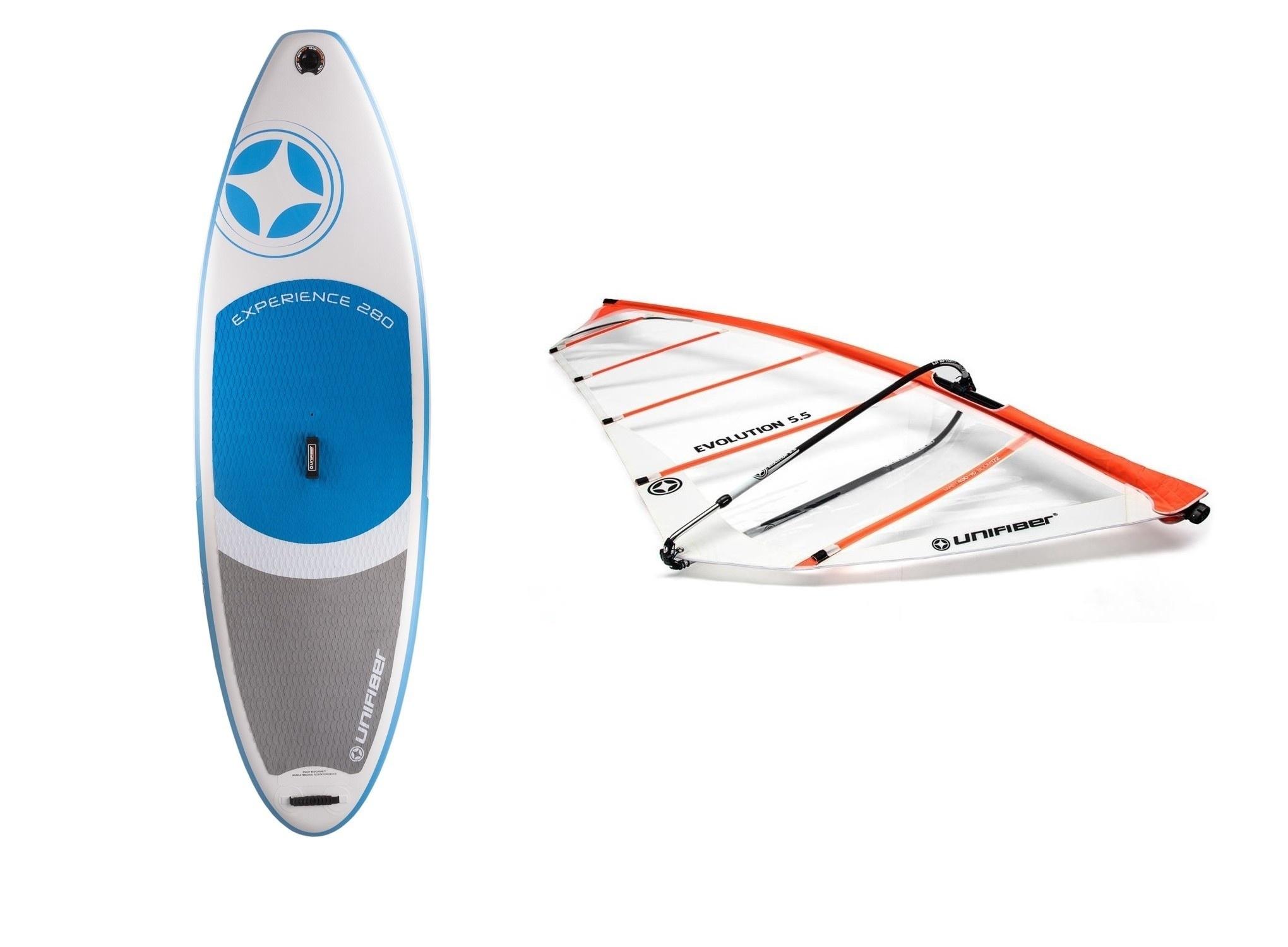 Opblaasbaar windsurfboard met compleet tuigage