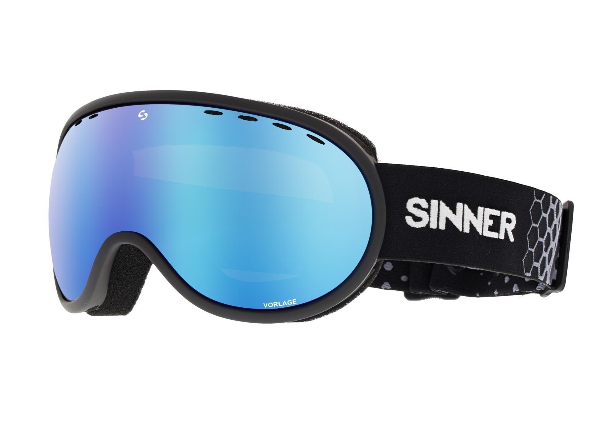 Skibril Sinner Vorlage mat zwart