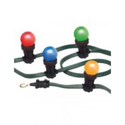 Foto van Prikkabel 50 meter met gekleurde lampen