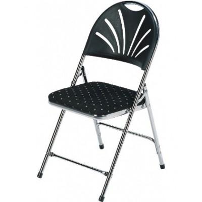 Foto van Gestoffeerde klapstoel stoel chroom/zwart