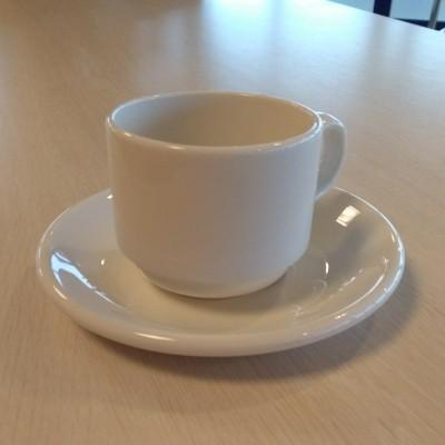 Foto van schotel voor koffiekop