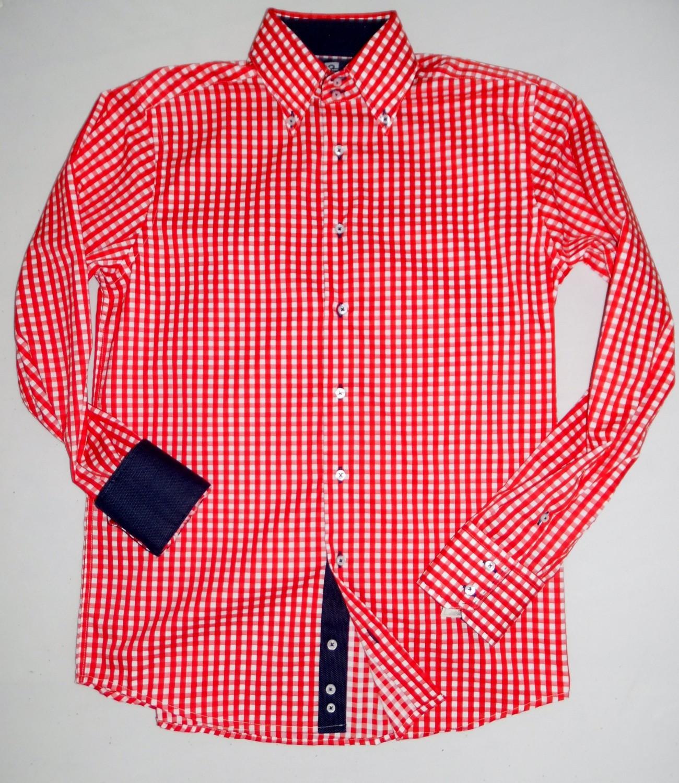 Foto van City of Sails overhemd (rood smalle ruit)