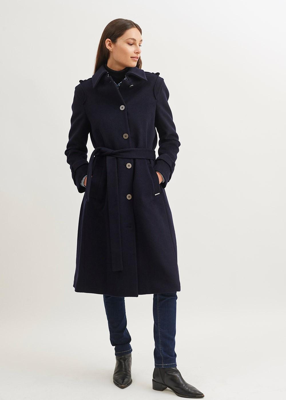 Foto van Saint James Navy Blue Felted Wool Long Coat