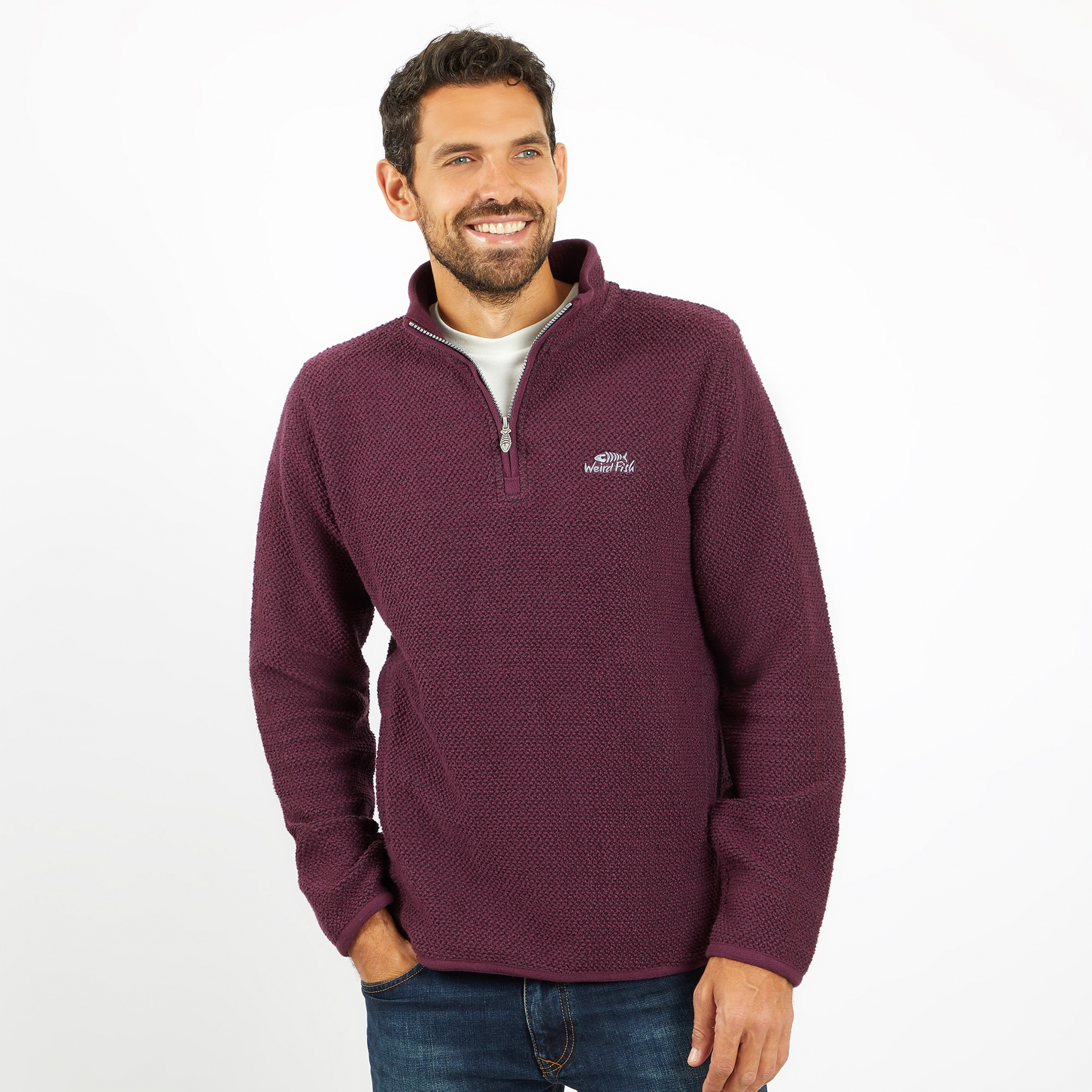 Foto van Weird Fish Stern 1/4 zip Plum