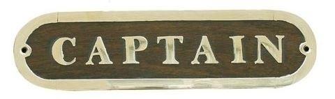 Foto van Naamplaat Captain hout messing