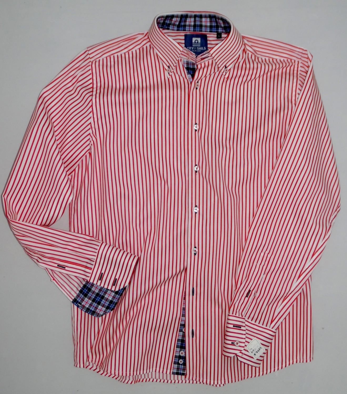Foto van City of Sails Overhemd (rood smalle streep)