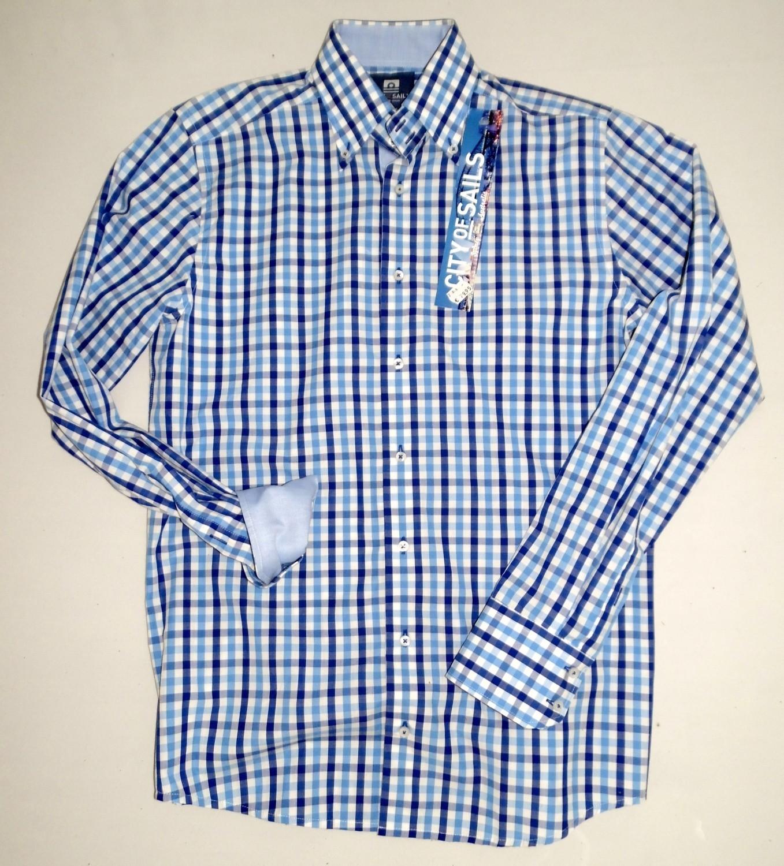 Foto van City of Sails Overhemd (blauw smalle ruit)