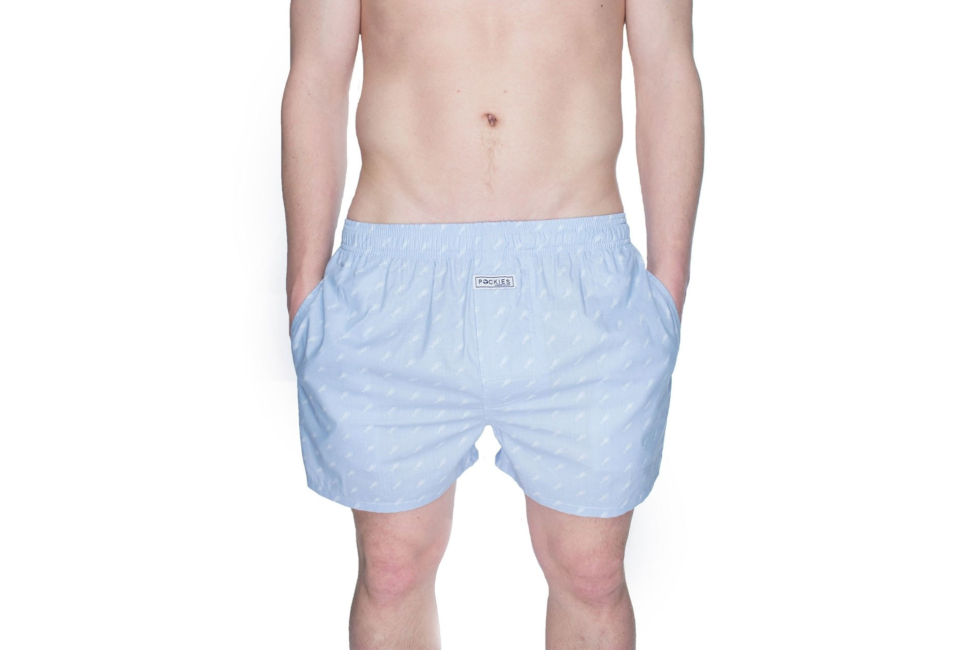 Foto van Pockies Boxershort Fishbone Light Blue - White