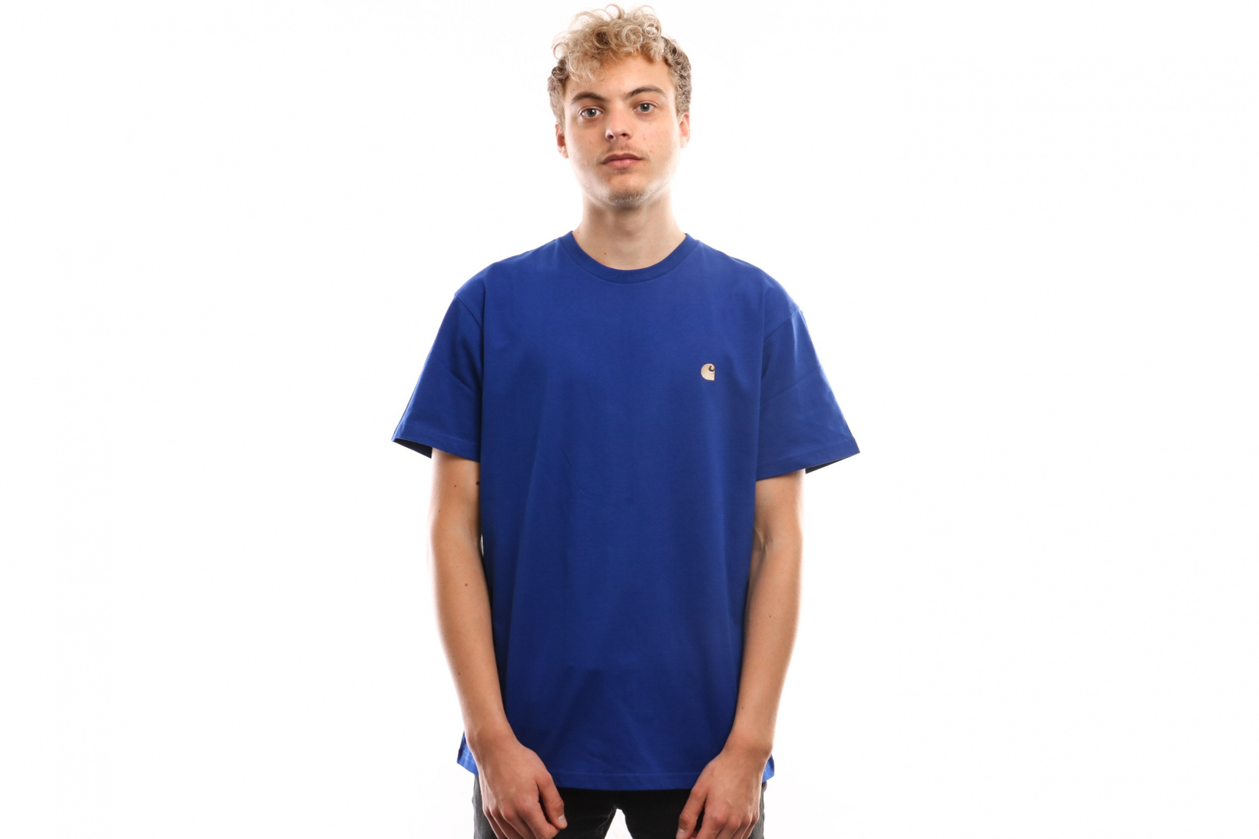 Foto van Carhartt Wip S/S Chase T-Shirt I026391 T Shirt Thunder Blue / Gold