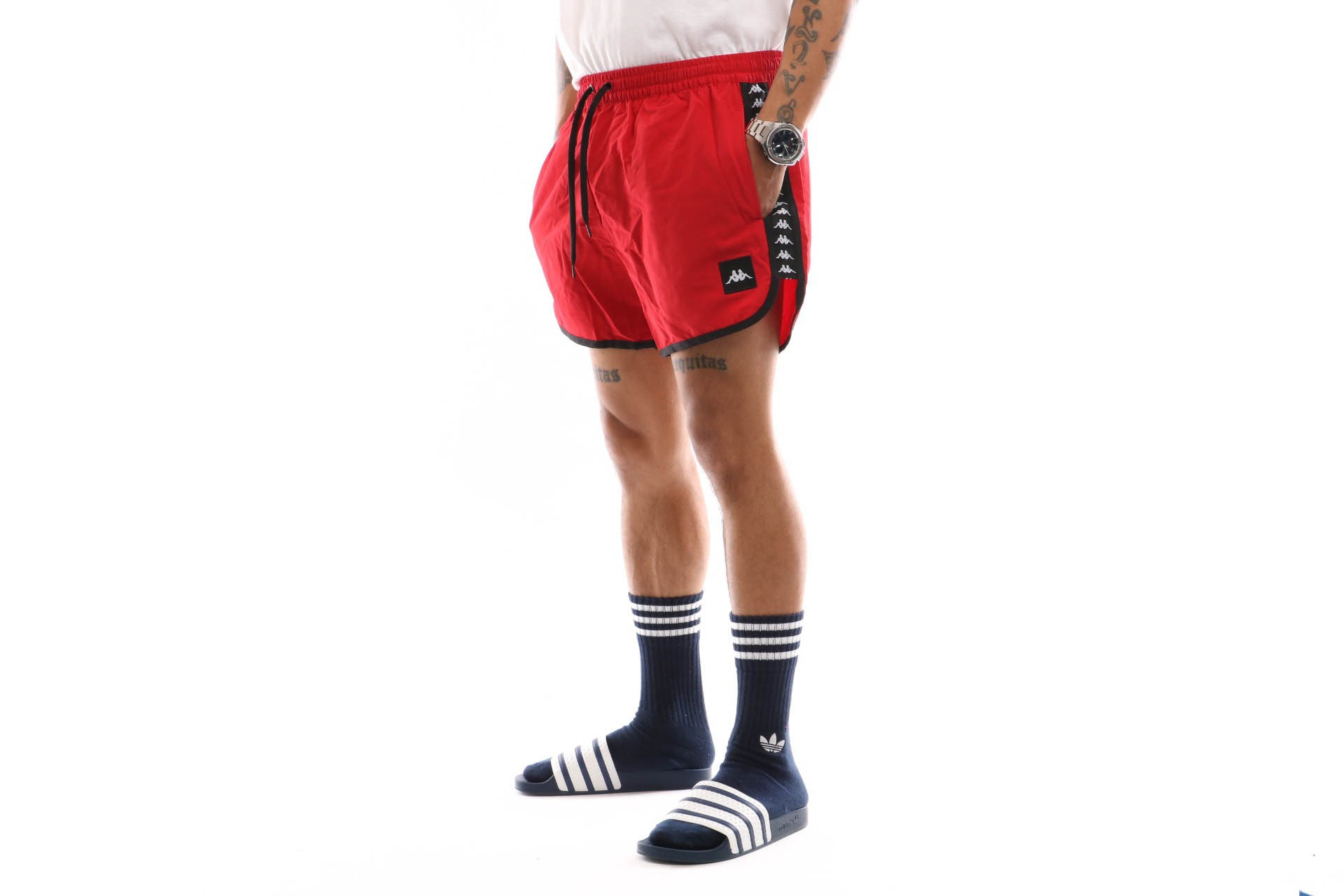Foto van Kappa Authentic Agius 303Wh90-998 Swimshort Red-Black-White