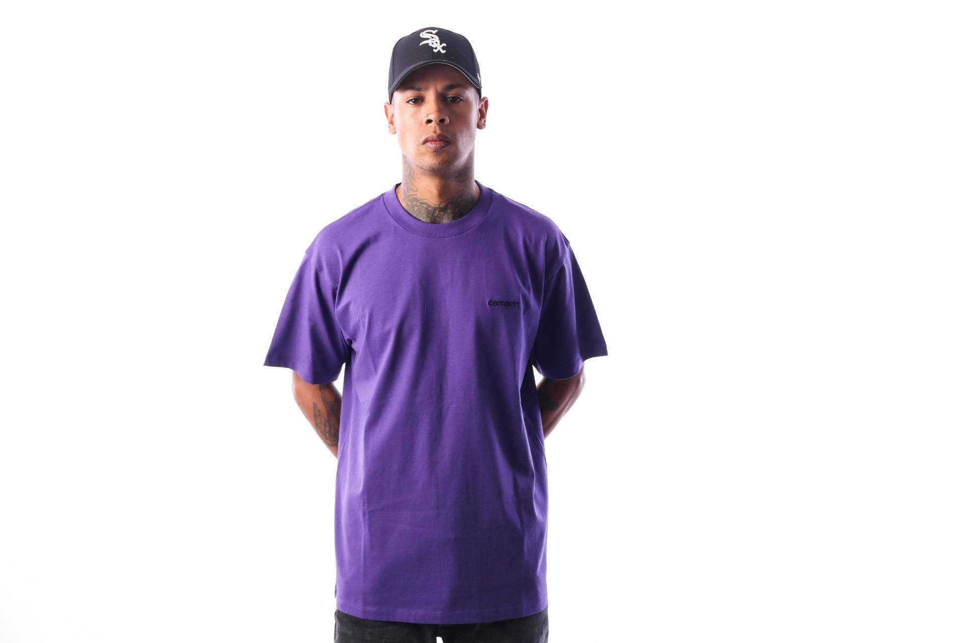 Foto van Carhartt WIP S/S Script Embroidery T-Shirt I025778 T-shirt Frosted Viola / Black