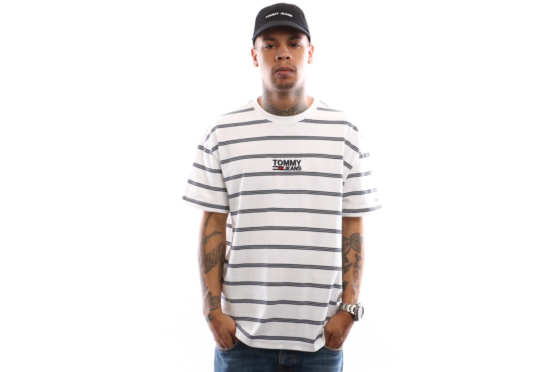 Foto van Tommy Hilfiger Tjm Signature Stripe Tee Dm0Dm06069 T Shirt Classic White / Multi