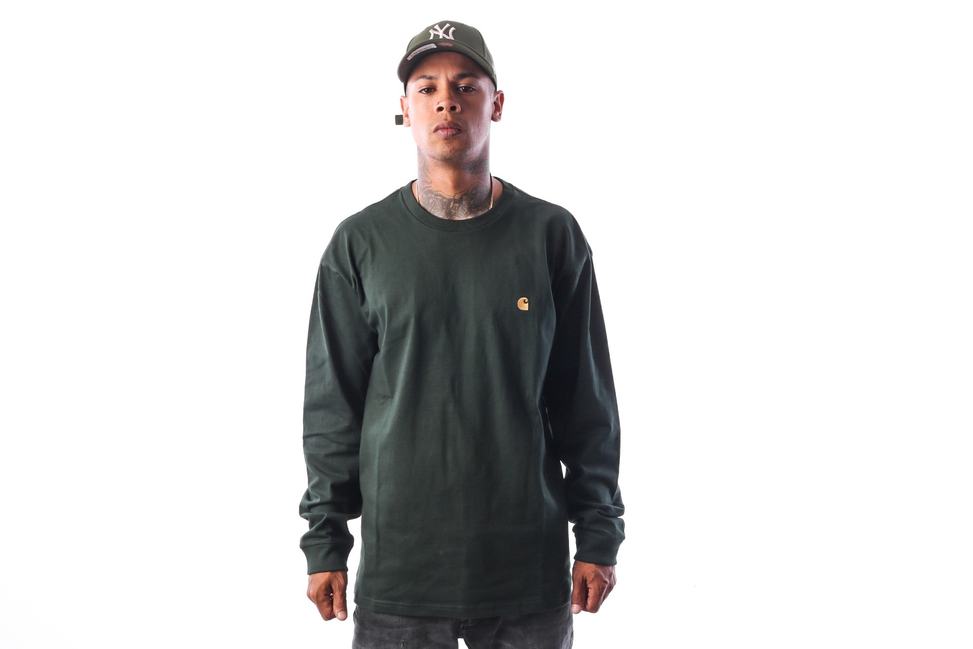 Afbeelding van Carhartt WIP L/S Chase I022923 Longsleeve Loden / Gold