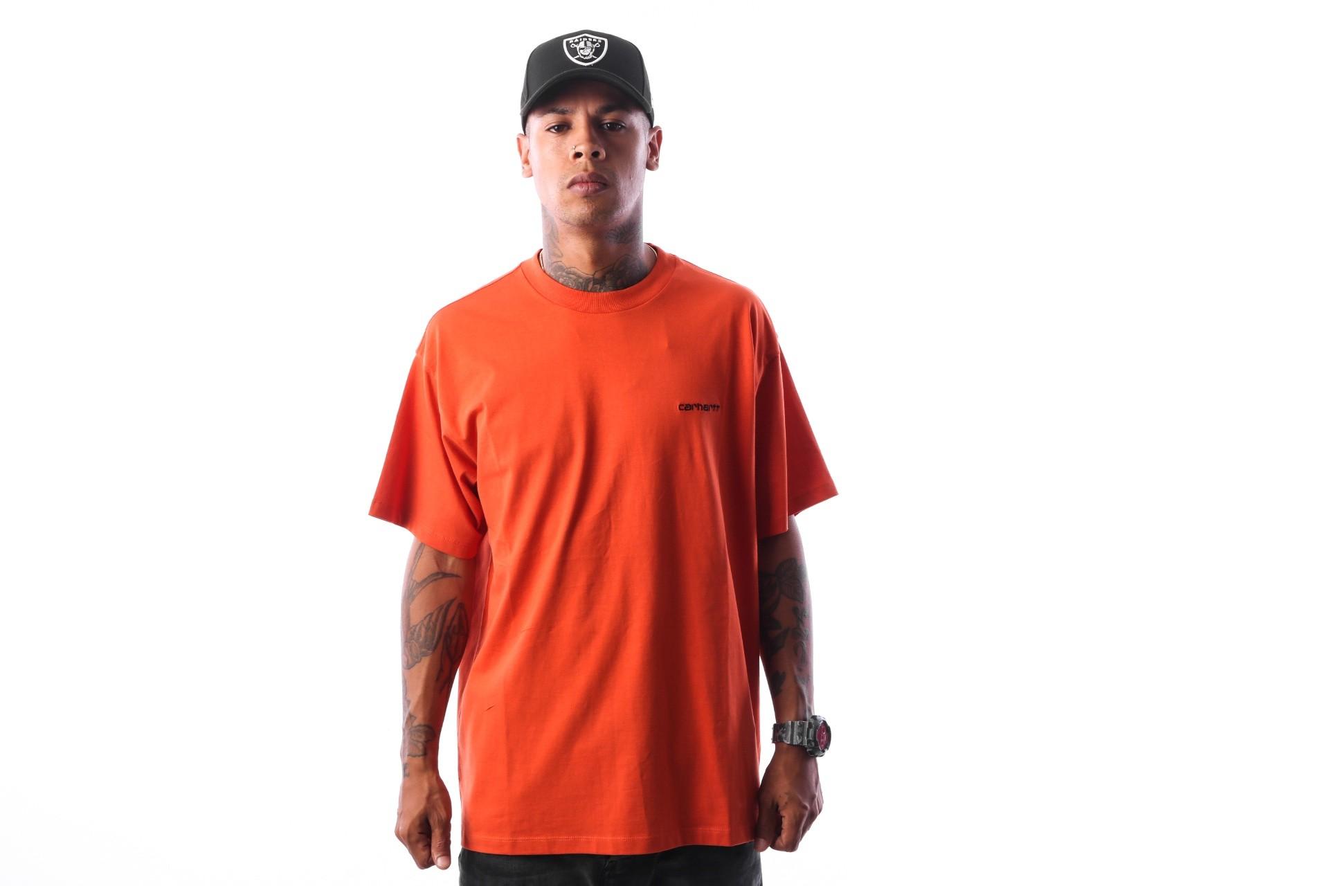 Foto van Carhartt WIP S/S Script Embroidery T-Shirt I025778 T-shirt Persimmon / Black