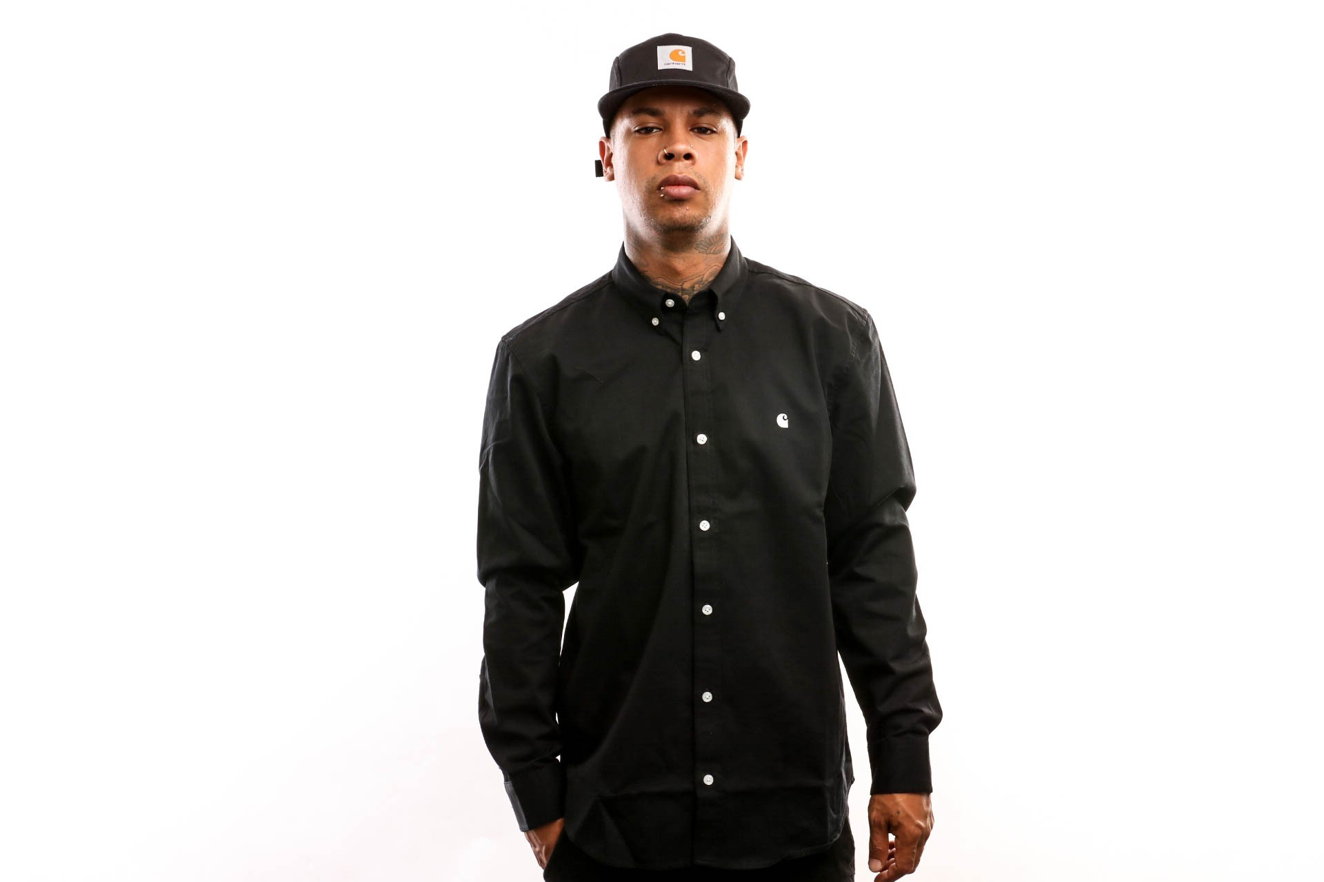 Foto van Carhartt Wip L/S Madison Shirt I023339 Shirt Black / White