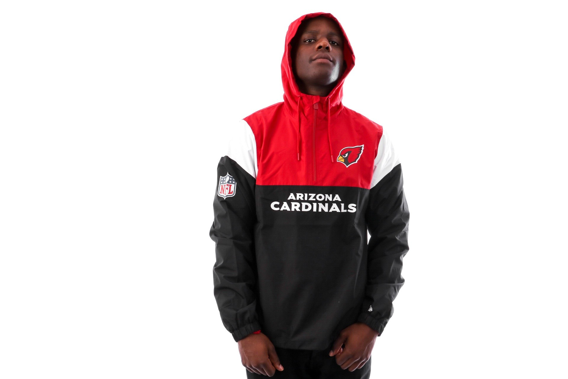 Foto van New Era COLOUR BLOCK WINDBREAKER ARICAR BLK 11841058 jas BLACK ARIZONA CARDINALS