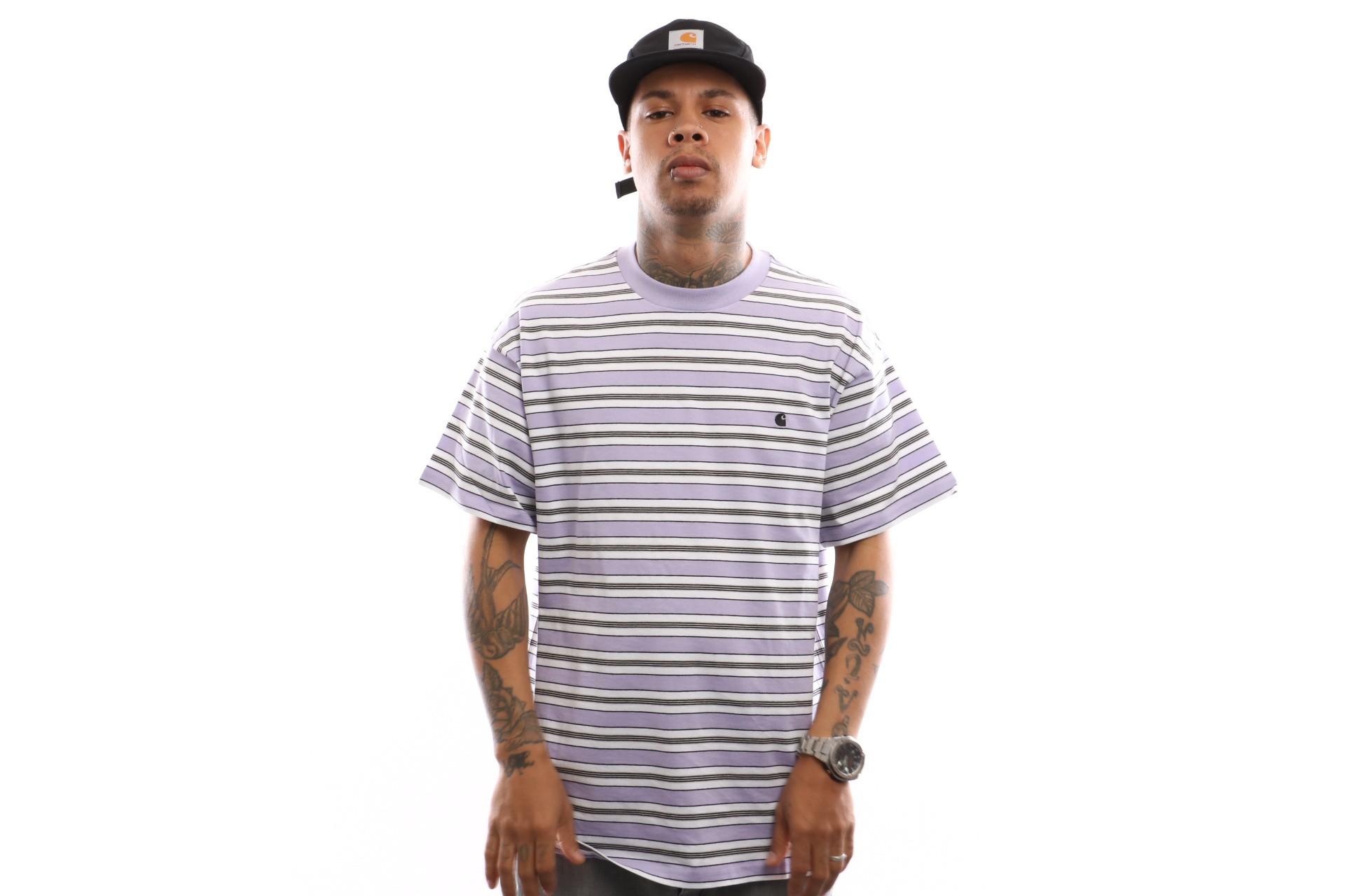 Foto van Carhartt Wip S/S Huron T-Shirt I026371 T Shirt Huron Stripe, Soft Lavender / Black