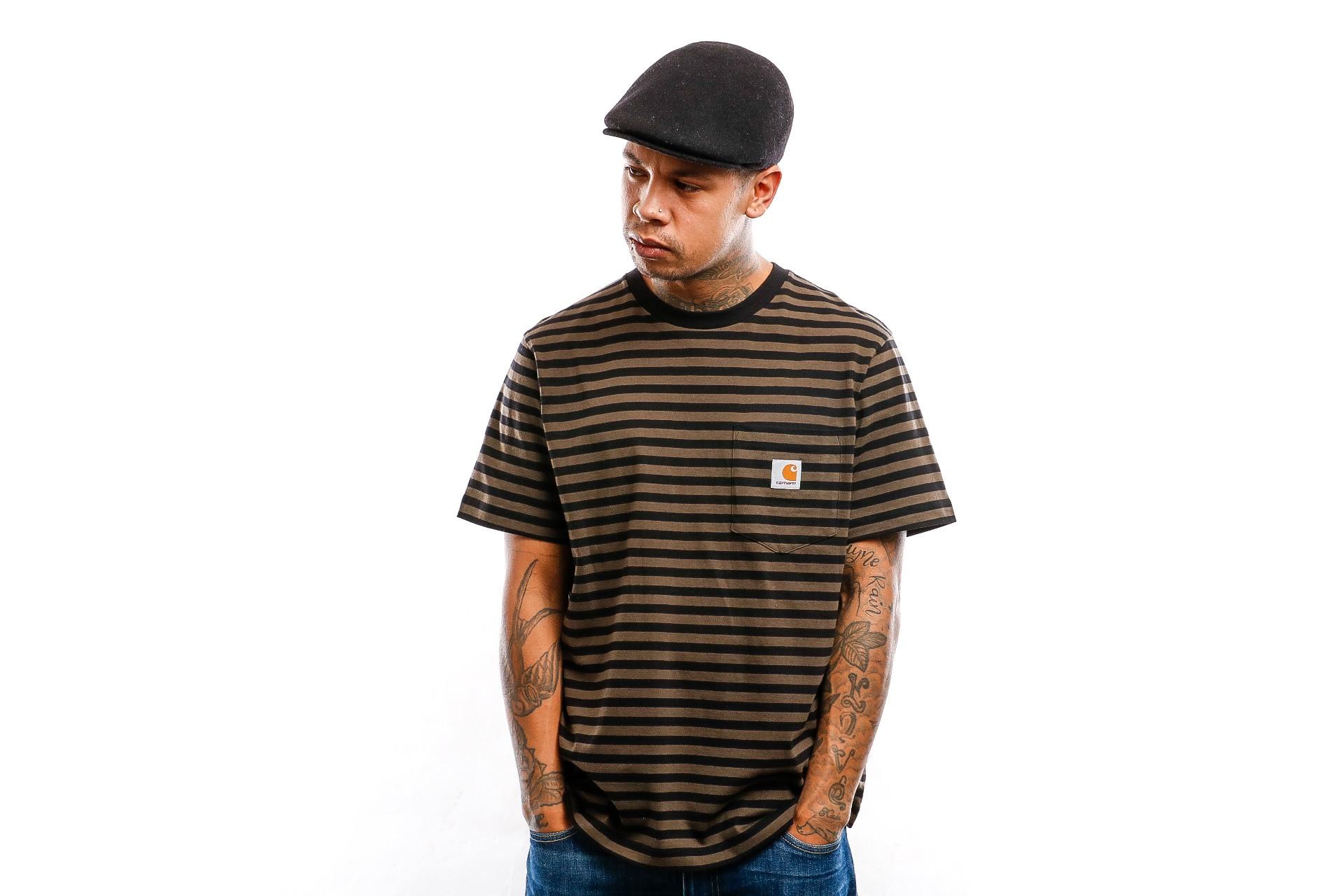 Foto van Carhartt WIP T shirt S/S Haldon Pocket T-Shirt Haldon Stripe, Black / Cypress I027066