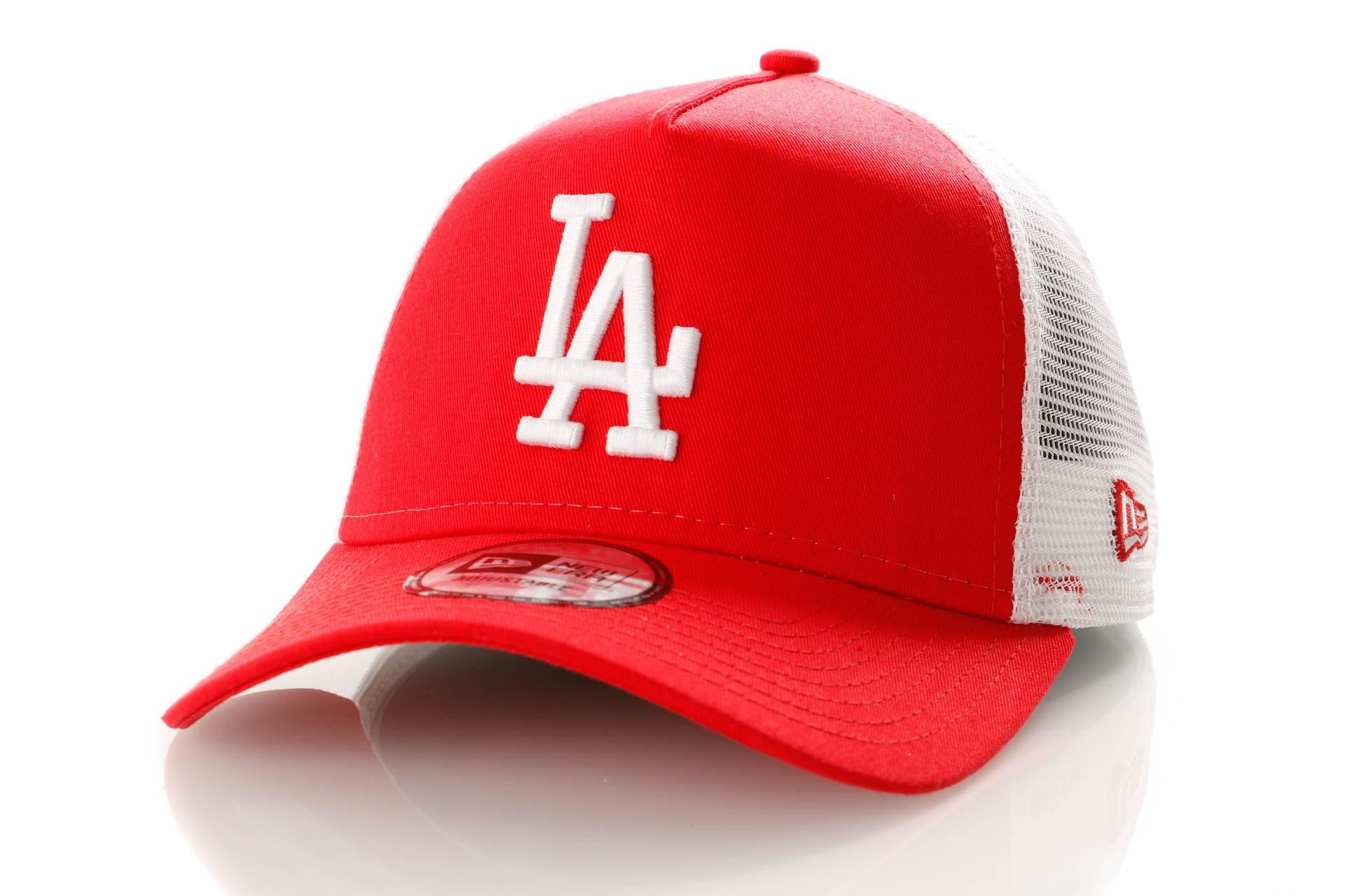 Foto van New Era League Essential Trucker 11945646 Trucker Cap Scarlet/Optic White Los Angeles Dodgers