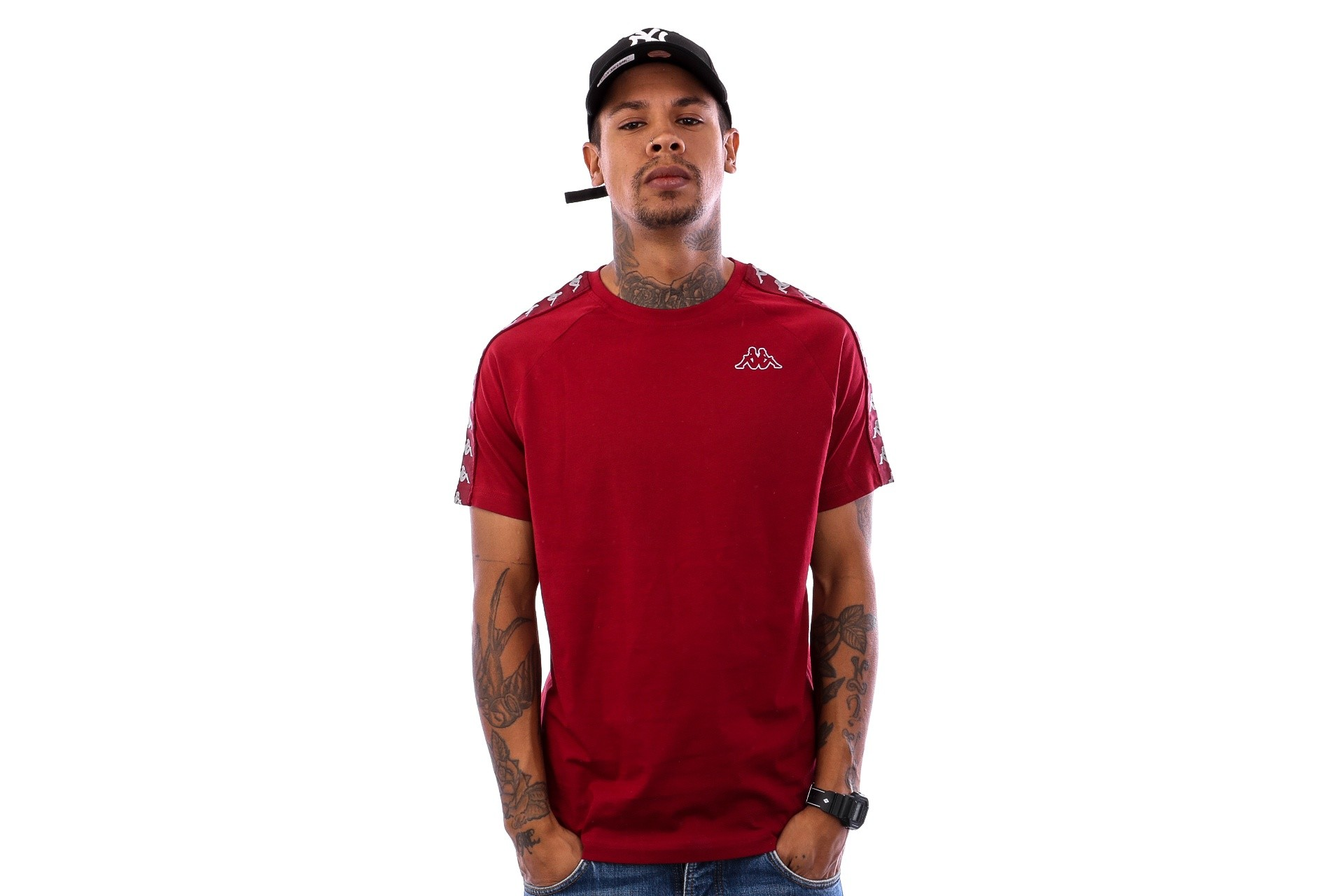Foto van Kappa Banda Coen Slim 303UV10 T shirt Red Bordeaux-Grey